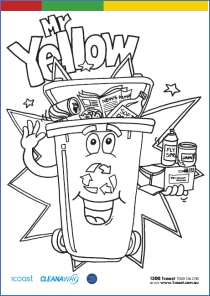 Mr Yellow the Recycle Bin Colouring In image
