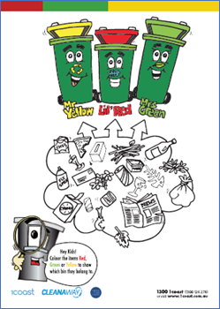 Three Bins Colouring In image